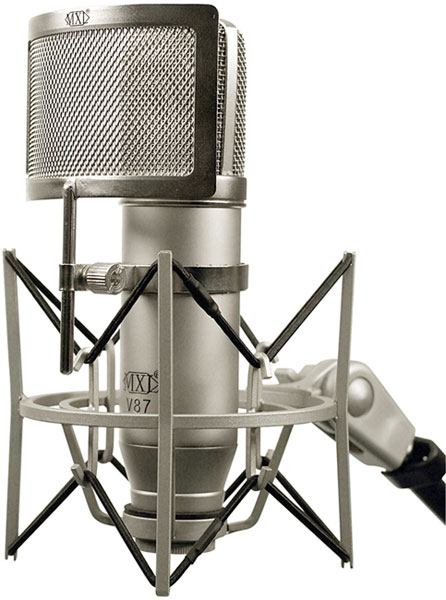 MXL V87 with shock mount and pop filter
