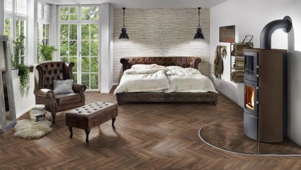 Schlafzimmer mit Project Floors_Chevron_PW 3130FP
