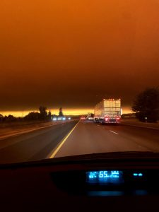 red sky from wildfires