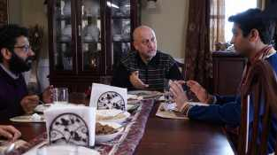 """From L to R: Adeel Akhtar """"Naveed,"""" Anupam Kher as """"Azmat"""" and Kumail Nanjiani as """"Kumail"""" in THE BIG SICK. Photo by Nicole Rivelli."""