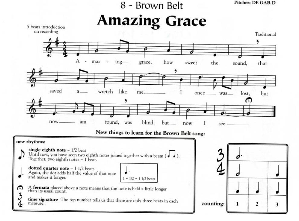 Karaty Letter Notes Recorder Amazing Grace