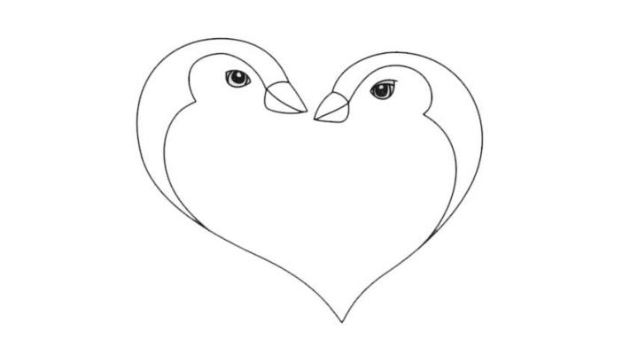 How To Draw A Penguin Love Heart