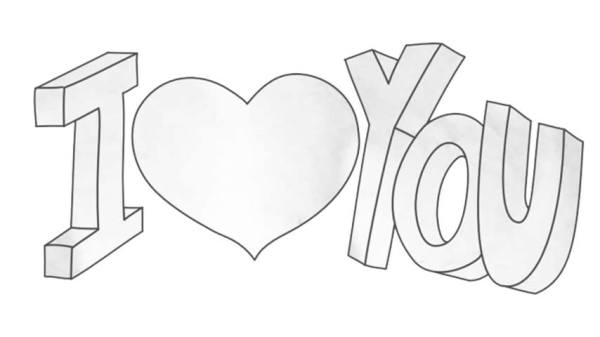 """How to draw 'I Love You"""" in 3D Letters - My How To Draw"""