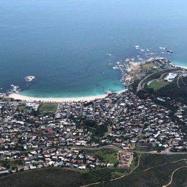 Looking from Table Mountain to Camps Bay beach. On the right is Clifton Beach