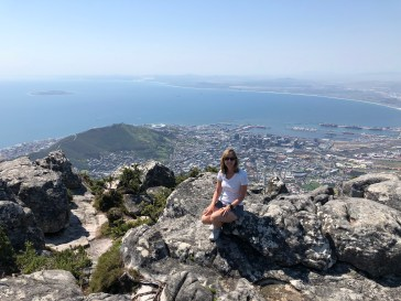 View from Table Mountain over center city Cape Town - world cup stadium in the middle