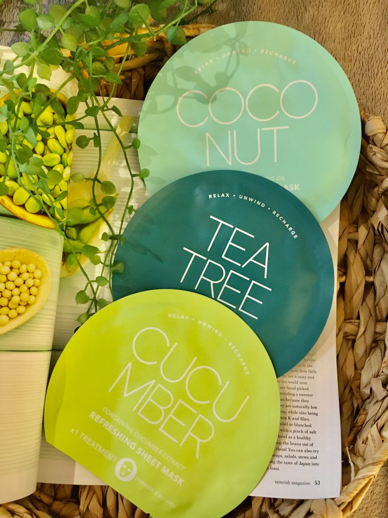 The coconut, tea tree and cucumber face masks by Kmart