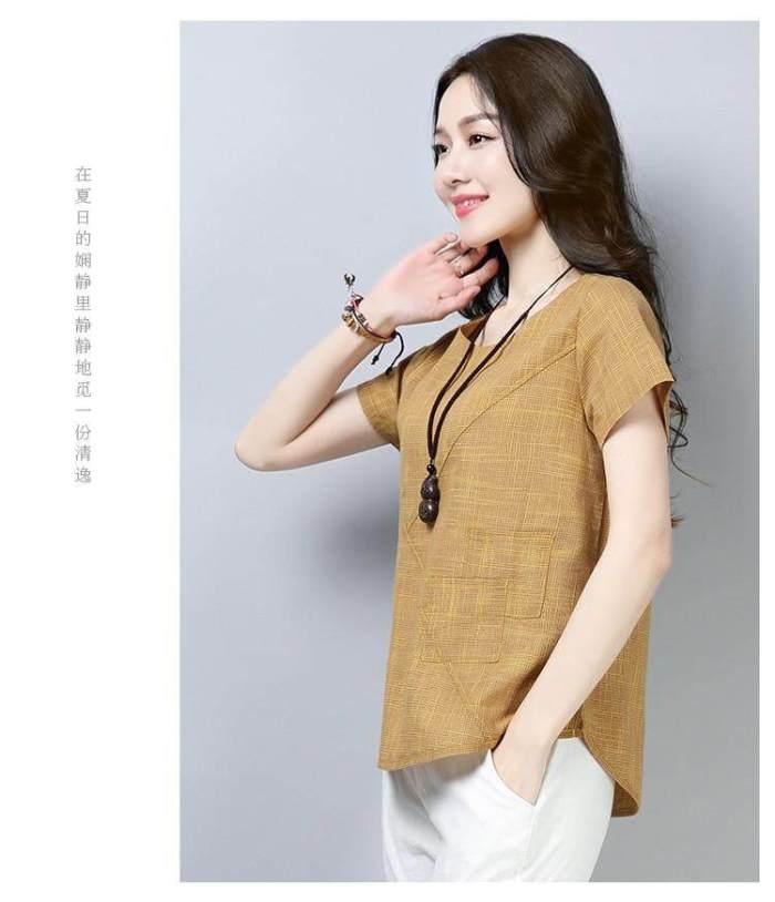 Women's Summer Blouses 2019 New Vintage Linen Cotton
