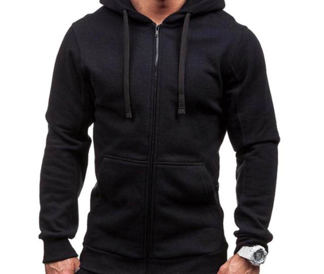 Men Casual Zipper Closure Loose Autumn With Pocket Long Sleeve Fashion Hoodie