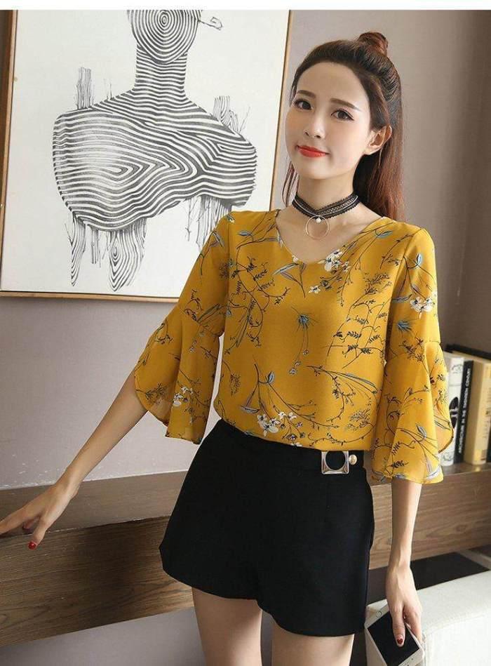 INWPLLR Korean Style Tops Women's Fashion Chiffon Blouse