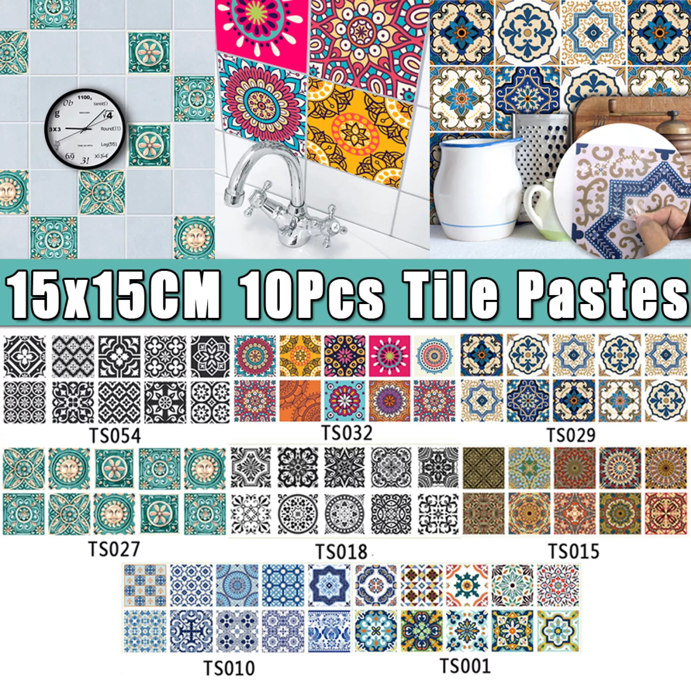 10pcs modern art nordic style waterproof wall decor tiles mosaic sticker square floor reform decoration adhesive for kitchen bathroom room wall