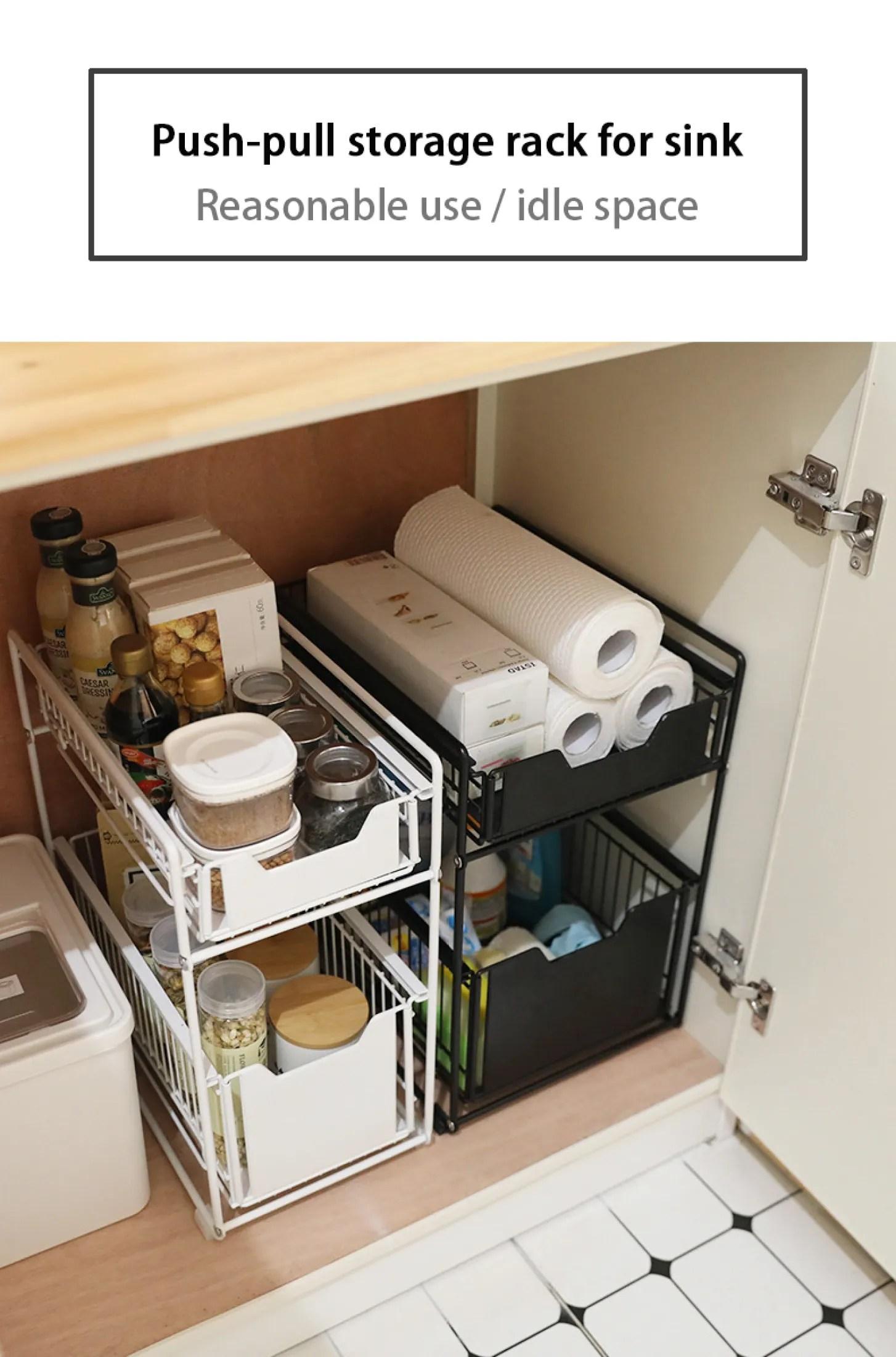 yaleer under sink shelf 2 tier kitchen cabinet organizer rack with sliding storage drawer desktop organizer for kitchen bathroom office stackable