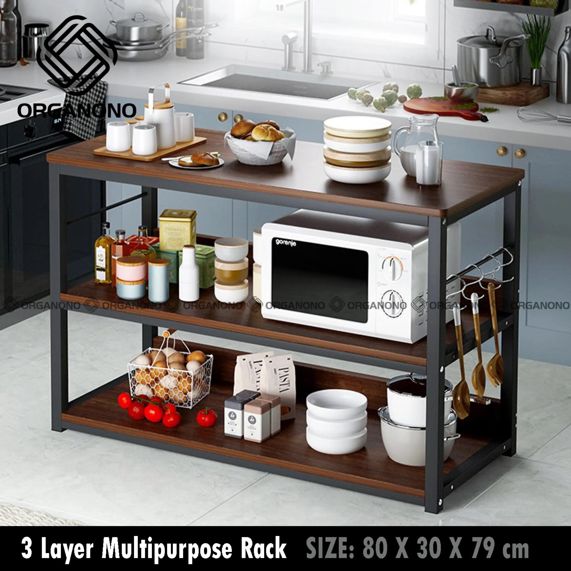 organono multipurpose 3 layer kitchen wood rack microwave rack kitchen table