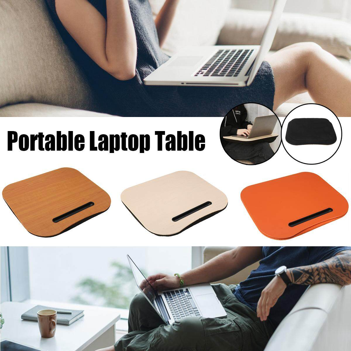 portable laptop table knee lap desk pillow cushion phone computer office home