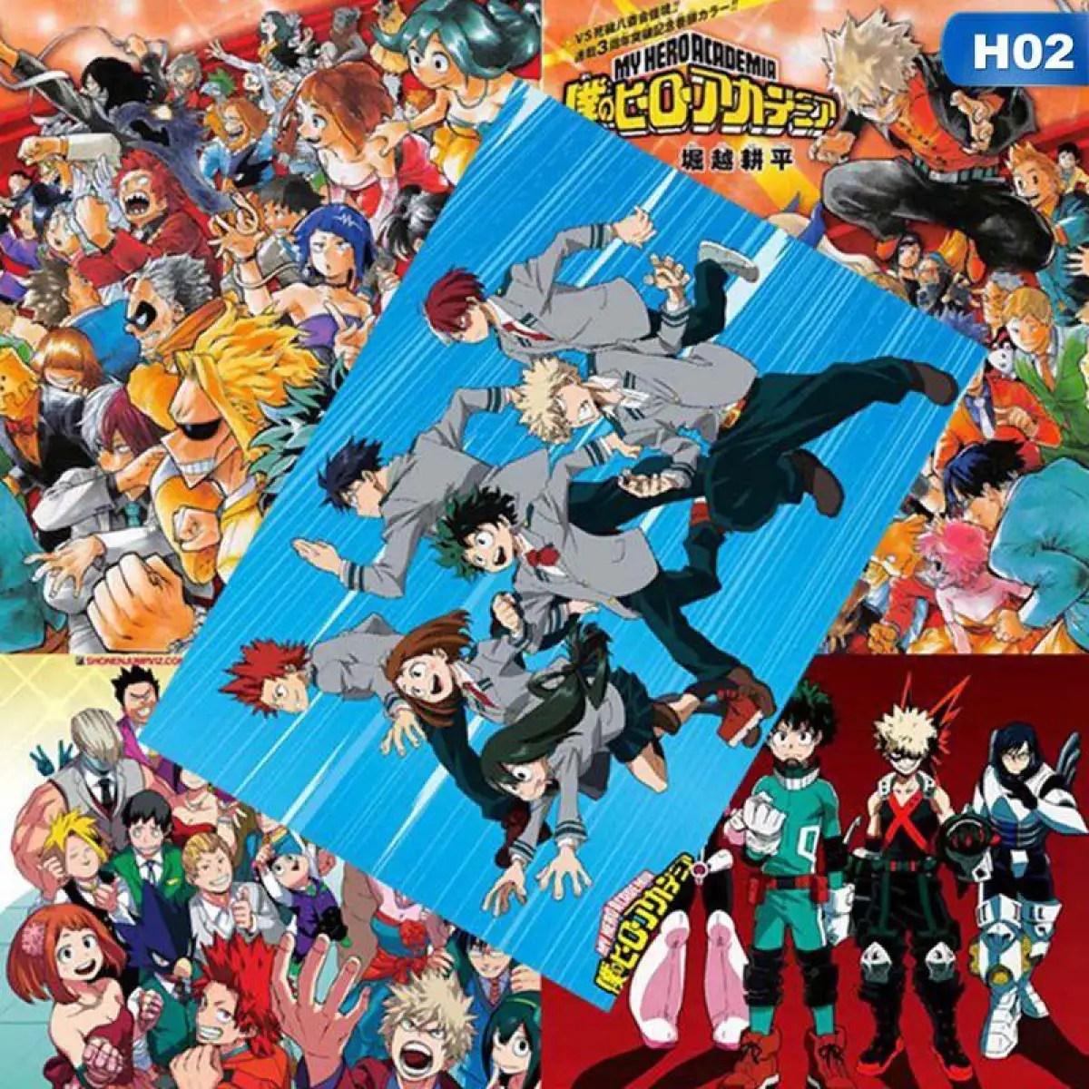sys 8 pcs anime my hero academia demon slayer kimetsu no yaiba hd home decor poster wall art painting poster