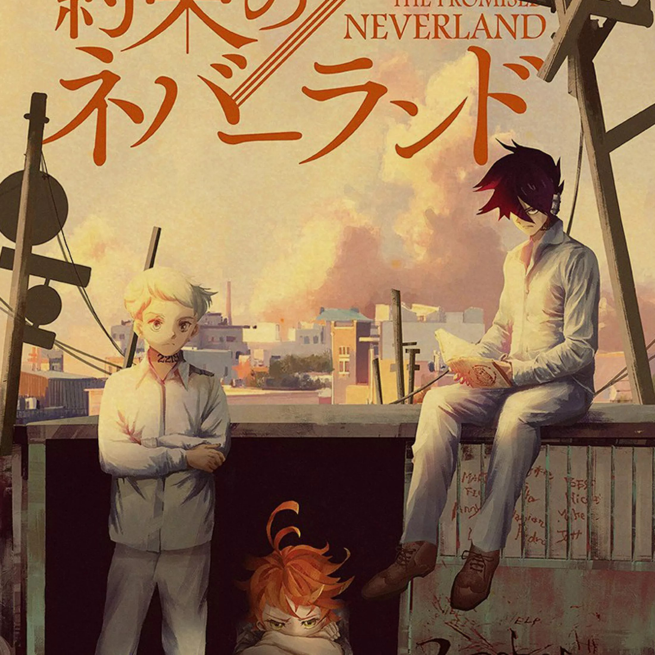 vintage posters anime cartoon the promised neverland poster prints wall painting good quality poster home decoration