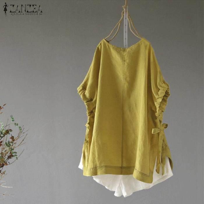 ZANZEA Women Asym Casual Summer Shirt Tops Oversize Solid