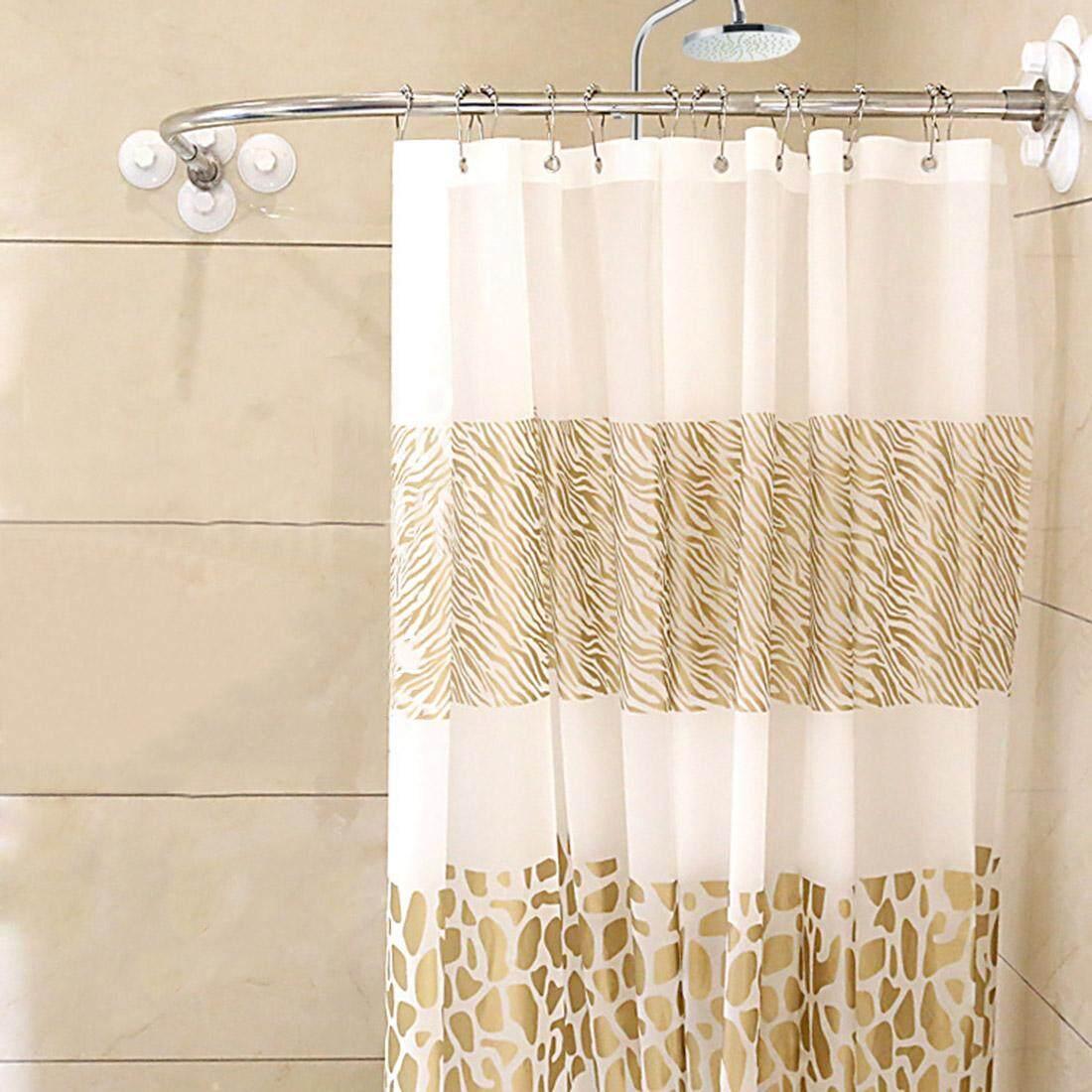 Hot Selling Shower Curtain Curved Rail U Shape Single Way Track Rod Pole Bath Set Set No Punching Bath Curtain Rod