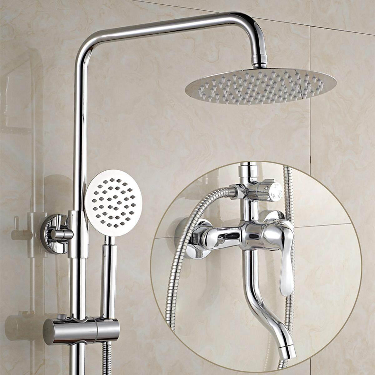 8 Wall Mount Rainfall Shower Head Faucet Set Chrome Brass Shower Tub Mixer Tap