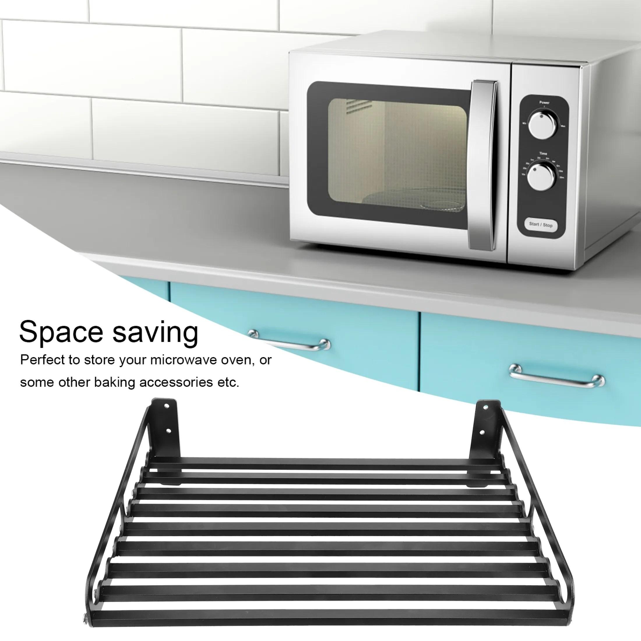 wall mounted microwave oven shelf bracket storage rack holder household kitchen organizer