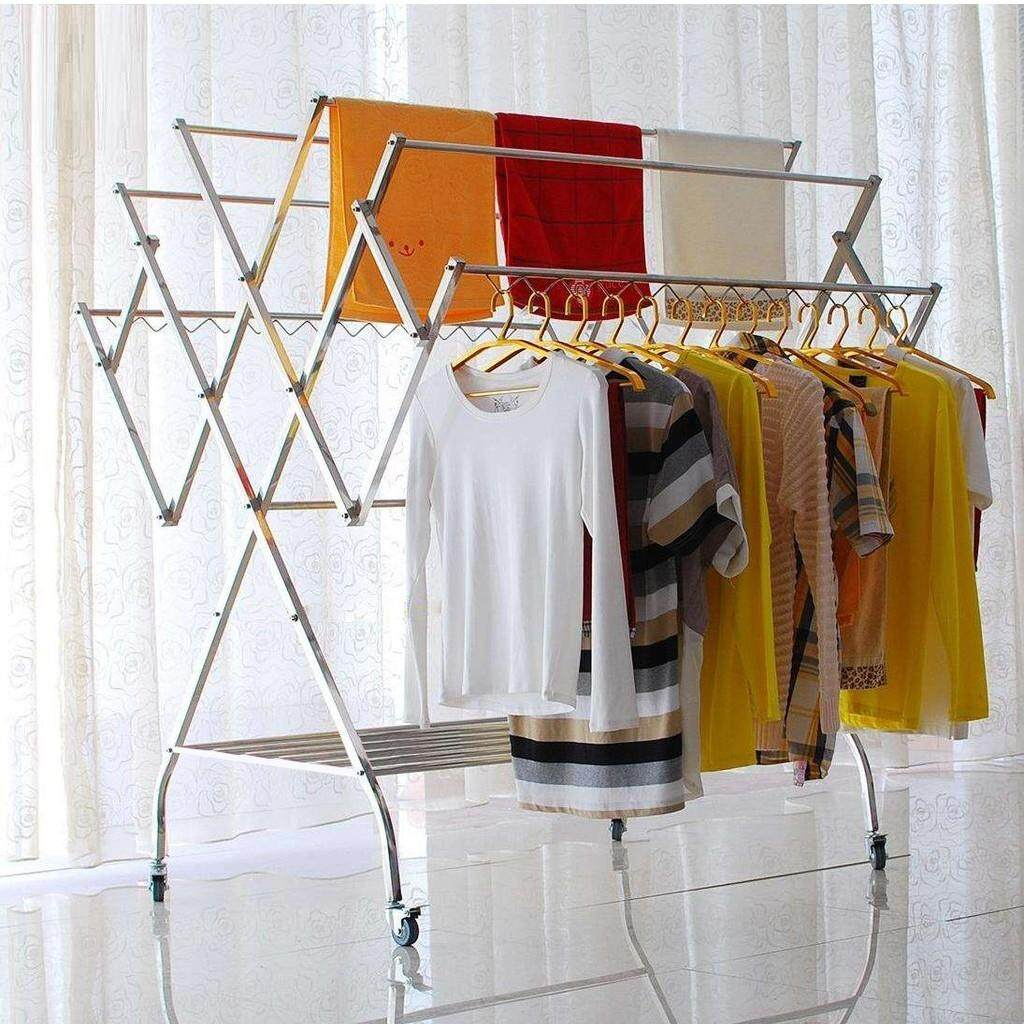 clothes drying rack with roller stainless steel foldable outdoor laundry clothes hanging rack ready stock pd 3011w