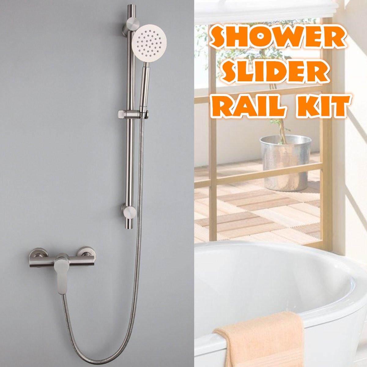 Stainless Steel Adjustable Shower Slider Riser Rail Bar Kit Head Hose Set System