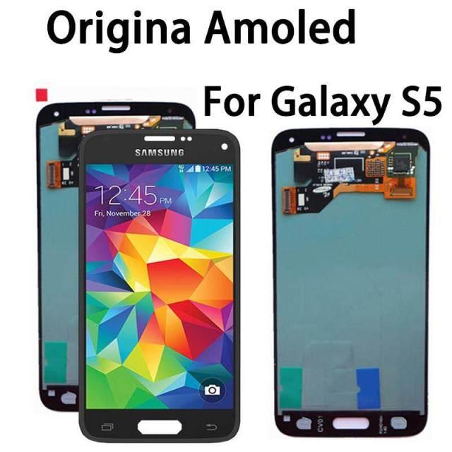 Asli 5.1 Inci Super AMOLED LCD untuk Samsung Galaxy S5 Layar LCD I9600 G900 G900F G900M G900H SM-G900F Sentuh Layar Digitalisasi