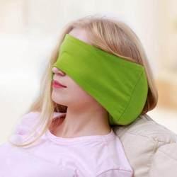 2-In-1 U Berbentuk Bantal Perjalanan dengan Penutup Mata Mobil AIR Bantal Penopang Leher Bantalan Kepala Bantalan Perawatan Yang Lembut (Hijau) -Intl
