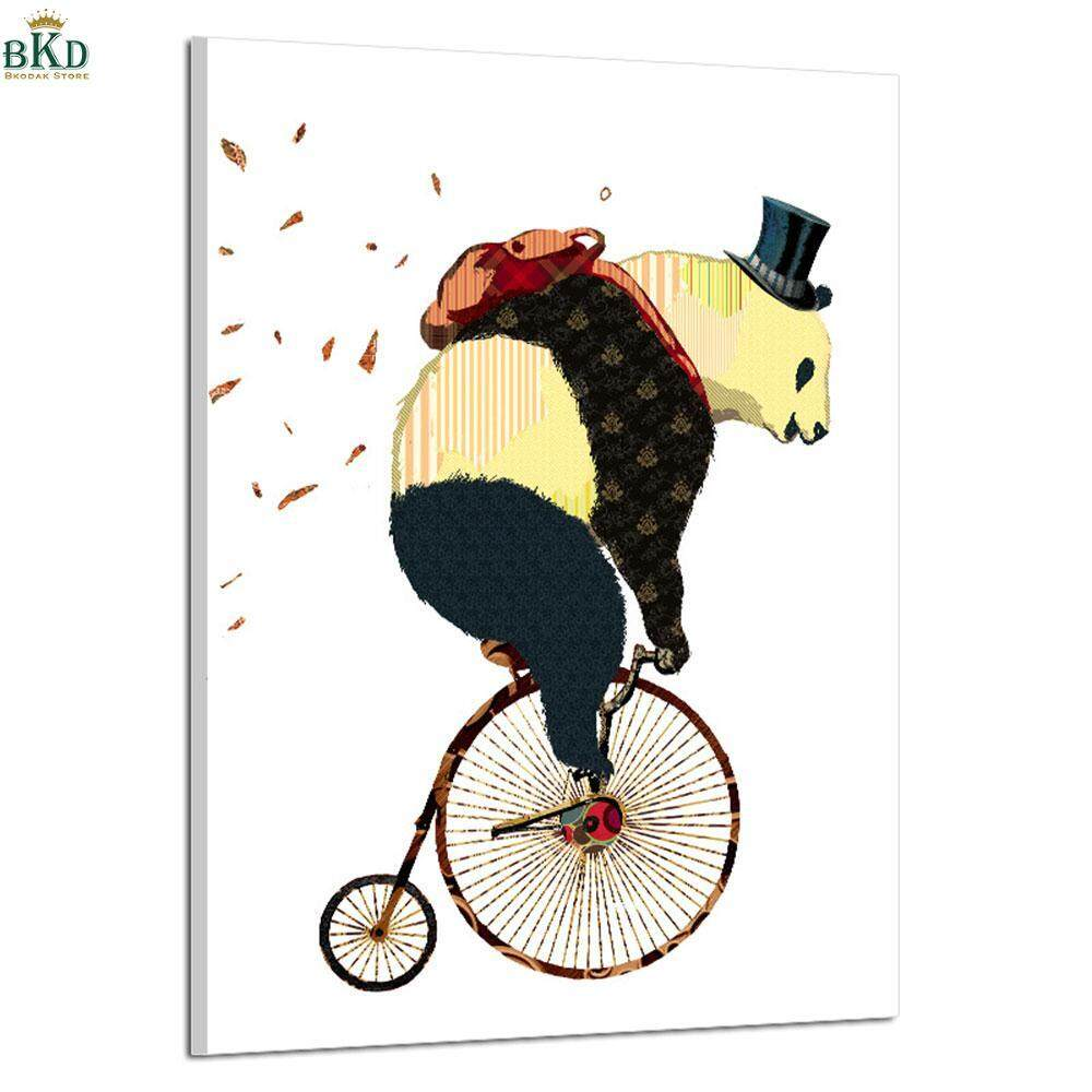 Creative Colorful Bike Giant Panda Wall Frameless Oil Paintings 14.8X21CM