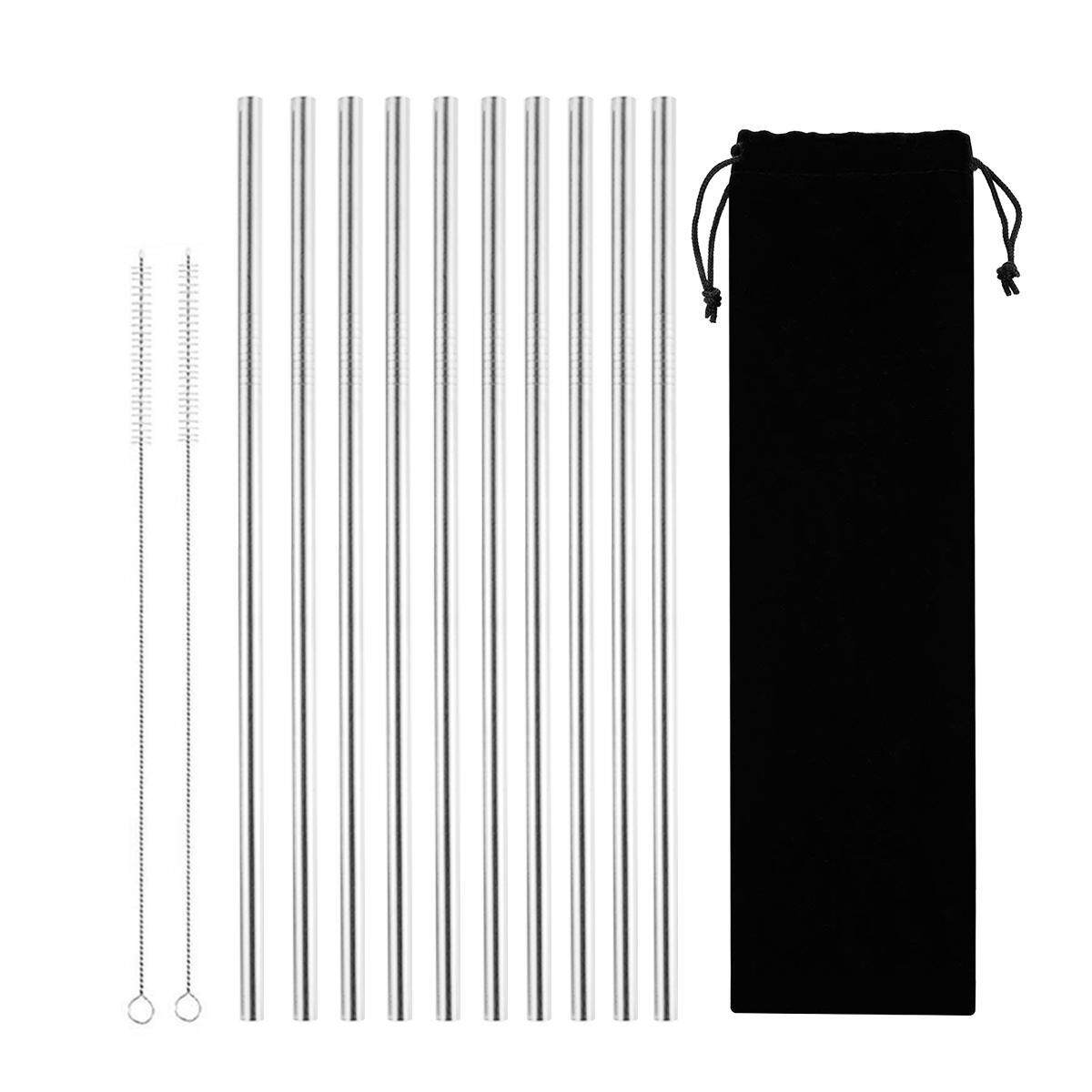 Reusable Stainless Steel Straws 10 Pack,10.5 Inch Straight Long Straws Fit for Yeti and 30 Tumbler 2 Straw Cleaning Brushes and Carry Bag Included,FDA Approved and BPA Free