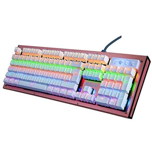 Boxan 104 Mekanis Kunci Backlit Keyboard, komputer Berkabel USB Yang Tahan Air Keyboard untuk Buah & Mac dengan Biru Sakelar-Mawar Emas (Bukan RGB) -Internasional