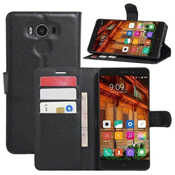 Elephone P9000 Case, fettion Kulit Dompet Telepon Case S Lipat Sarung dengan Penyangga Kartu Penahan untuk Elephone P9000 2016 Smartphone (Dompet- hitam) -Internasional