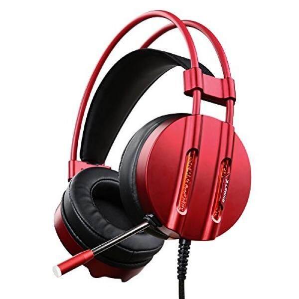X-LSWAB Buah Permainan Headset dengan Mikrofon, Air Pendinginan Efisiensi Lampu LED, lebih Telinga Headphone dengan 50 Mm Driver, Lembut & Nyaman Bantalan Telinga untuk PS4, Xbox Satu, buah, Laptop, Ponsel (Merah)-Internasional