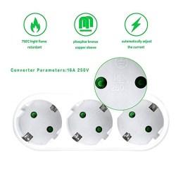 BolehDeals 3 Lubang Triple Soket AC 250V 16A Tahan Api Soket untuk Home Office Uni Eropa Plug