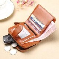 Lady Women Purse Clutch Wallet Short Small Bag Card Holder-Brown