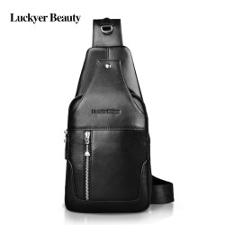 LUCKYER BEAUTY Luxury Brand Genuine Leather Men Chest Pack Casual Fashion Men Crossbody Bags Male Black Shoulder Bag Rucksack for Male