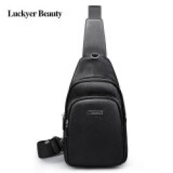 LUCKYER BEAUTY Male Luxury High Quality Genuine Leather Chest Bag Men Fashion Casual Male Crossbody Bags Men Messenger Bag Male Shoulder Bags Travel Bag