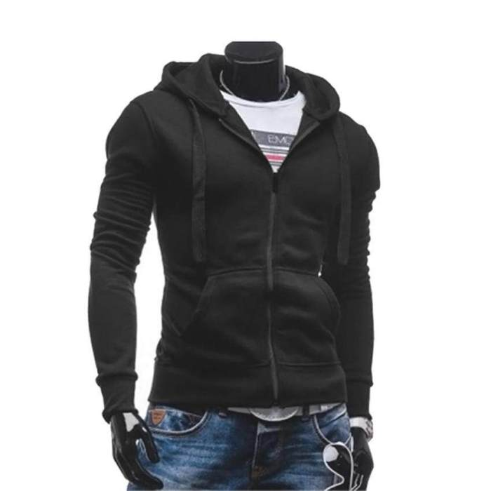 Mens fashion sports sweater solid color zipper jacket
