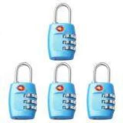 4 Buah Kunci TSA 3 Digit Yang Dapat Diatur Ulang Gembok Koper Bepergian Kombinasi Warna Biru