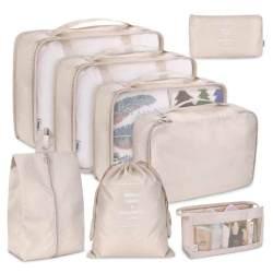 Koper Organizer Set 8-Piece Bagasi Penyimpanan Klasifikasi Tas untuk Pakaian Tempat Penyimpanan Kosmetik Tas Pengatur Perjalanan