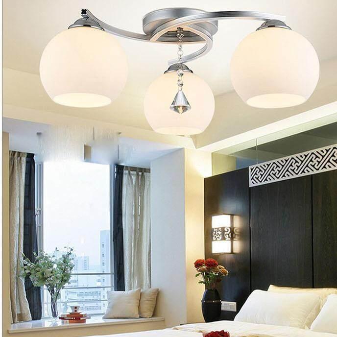 Hdsbo Baru Crystal Bulat Dipimpin Lampu Plafon Ruang Tamu Sederhana Lampu Lampu Kamar 3 Kepala Kaca Alat Pencahayaan