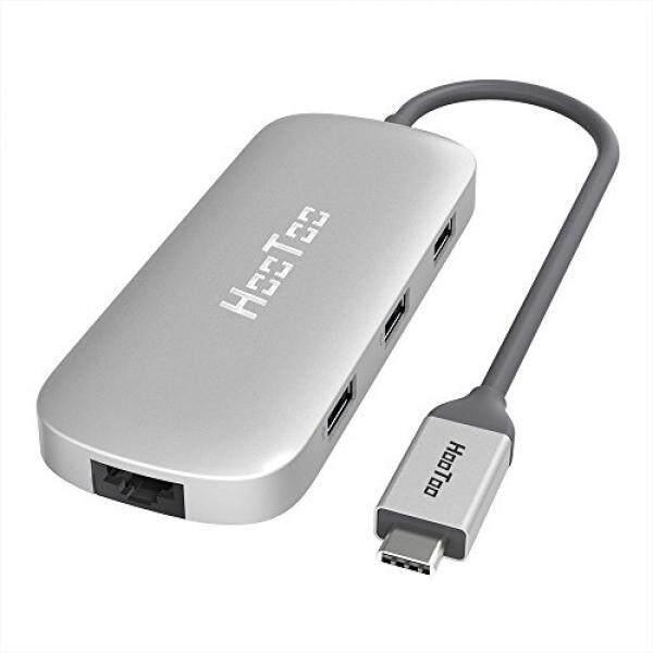 Hootoo Usb C HUB dengan Ethernet, HDMI, 100 W Daya Delivery, 3 Port USB USB C Jaringan Adaptor untuk MacBook Pro & Jenis C Laptop Jendela-Perak-Internasional