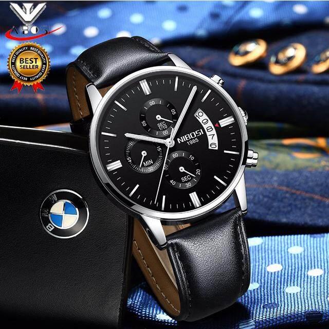 2018 Baru Nibosi Pria Bisnis Kasual Jam Tangan Pria Mewah Merek Kuarsa Militer Olahraga Jam Tangan Kulit Tali Pria Wristwatches Relogio masculino 2309