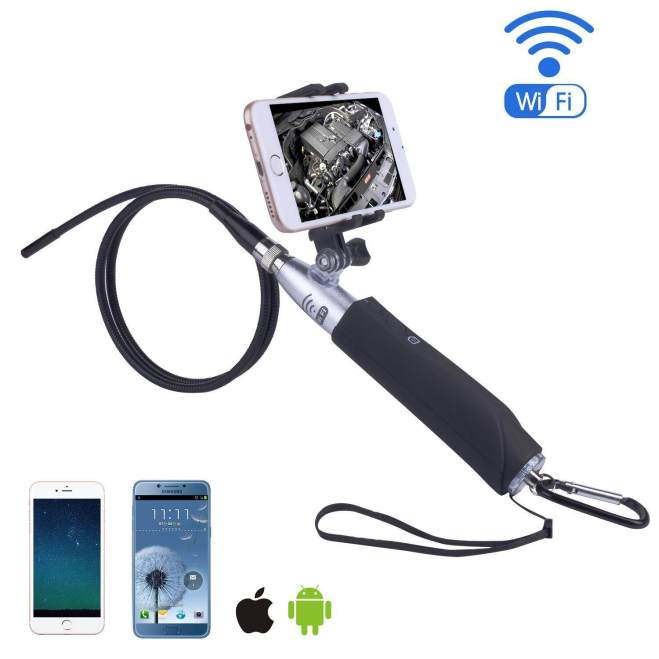 Wanxinkeji Nirkabel Endoskopi-iPhone Android WIFI Borescope Inspeksi Video Kamera. 2 Juta Piksel HD Ular Kamera Anti Udara USB HD 720 P 6 LED Endoskopi Industri Banyak Cermin/ jendela/IOS (1 M) -Internasional