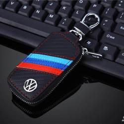 1 Buah Sarung Kunci Mobil Kulit Pria & Wanita Penutup Pegangan Gantungan Kunci Casing untuk VW Golf 5 6 7 Jetta MK5 MK6 MK7 Tiguan Passat B7