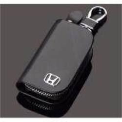 1 Buah Penutup Kunci Mobil Kulit Pria & Wanita Sarung Kunci Dompet Mobil untuk Honda CR-V CIVIC ACCORD ODYSSEY CITY FIT (Hitam)