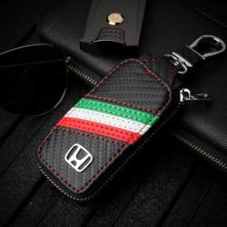 1PC Carbon Fiber Leather Smart Car Key Remote Cover Protector Case Holder For Honda Dio Fit Accord Cross City Civic Del Sol CR-V CRV CRZ CRX