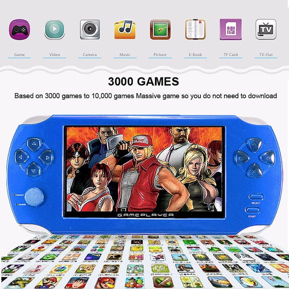 S 8367 43042161329e035aa0dce362d01b9603 Universal A15 Rechargeable 5.0 8G Handheld Video Game Console MP4/MP5 Player With Camera Red