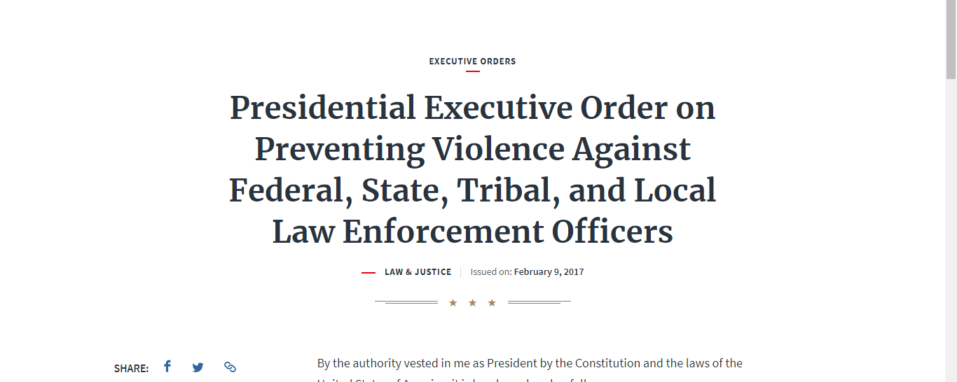 Presidential Executive Order on Preventing Violence Against Federal, State, Tribal, and Local Law Enforcement Officers