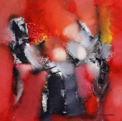 20344 - bhanu shah - ragini - oil on canvas - 18 x 18 inches - 2013 - lr in english