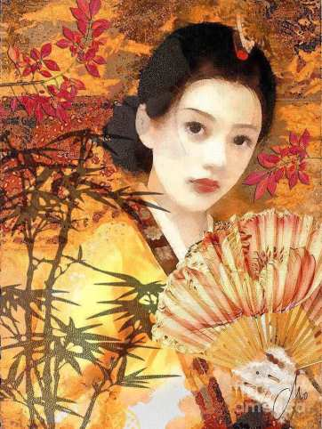 geisha-painting-awesome-geisha-with-fan-by-mo-t-of-geisha-painting
